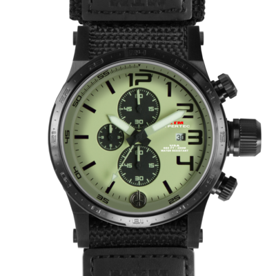 Часы в стиле милитари со светлым циферблатом MTM BLACK HYPERTEC CHRONO III (LUMI)