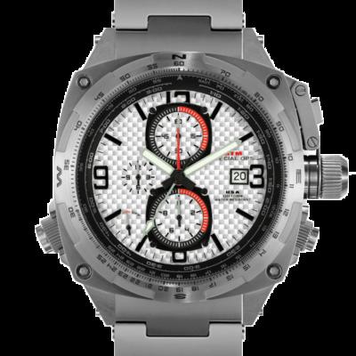 Дорогие  титановые мужские наручные часы с хронографом MTM SILVER COBRA 44 (Carbon Silver)