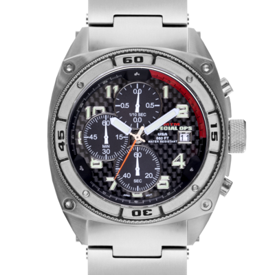 Титановые военные часы MTM SILVER PREDATOR с хронографом
