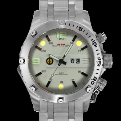 Крупные ударопрочные мужские часы с фонариком MTM SILVER VULTURE (TS)